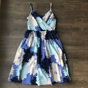 Banana Republic | Blue Floral Pleated Dress
